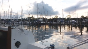 Motoring down the creek. Marinas to the right. . .